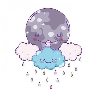 Nuvens e desenhos animados de lua