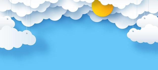 Nuvens e estrelas o sol sobre um fundo azul ilustração em vetor infantil do céu