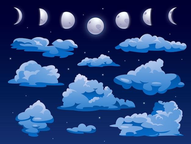Nuvens e lua no céu perto do fundo do vetor dos desenhos animados do céu noturno cloudscape com forma abstrata