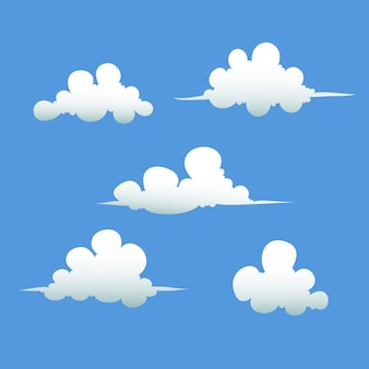 Nuvens em fundo azul. nuvens brancas de ilustração de formas diferentes.