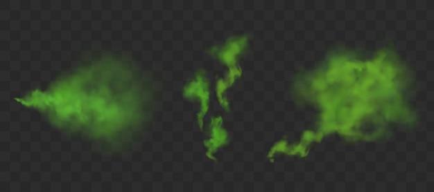 Nuvens fedorentas verdes de mau cheiro