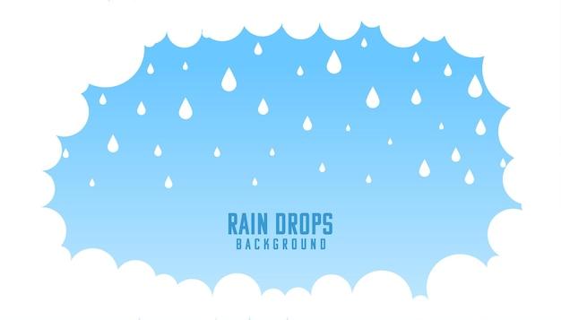 Nuvens fofas com fundo de gotas de chuva