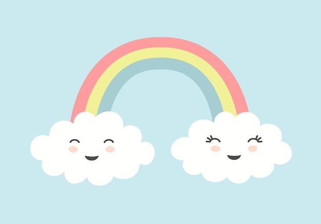 Nuvens fofas com rostos sorridentes e arco-íris