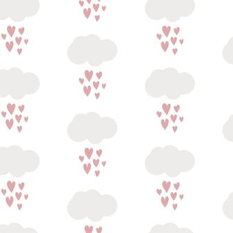 Nuvens fofas de papel digital infantil com gotas de chuva em forma de coração