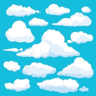 Nuvens fofas dos desenhos animados. brilhar céu clima ilustração panorama limpo conjunto isolado