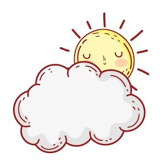 Nuvens fofos e personagens de kawaii do sol