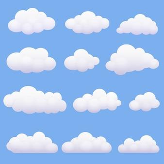 Nuvens macias dos desenhos animados ajustadas no fundo azul.