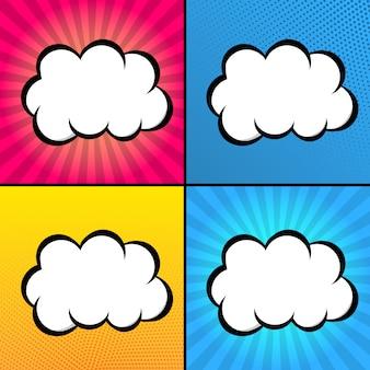 Nuvens para texto em estilo de quadrinhos
