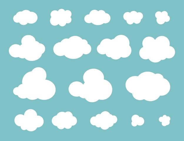 Nuvens planas definidas diferentes. estilo simples. ilustração vetorial