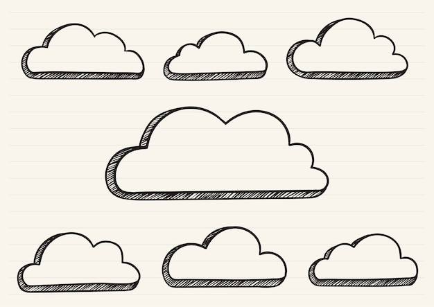Nuvens rabiscadas em um bloco de notas