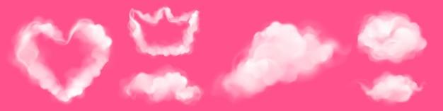 Nuvens realistas em forma de coração e coroa em rosa