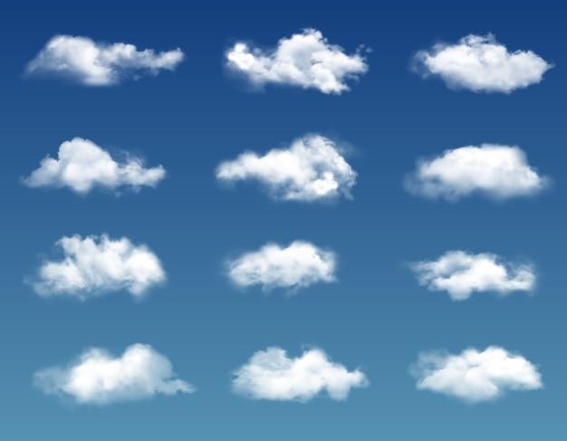 Nuvens realistas no céu azul.
