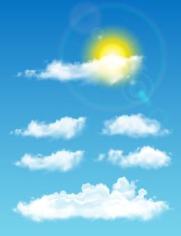 Nuvens realistas transparentes à luz do dia