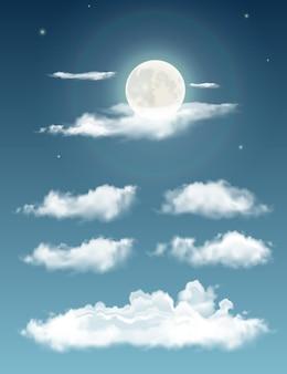 Nuvens realistas transparentes à noite