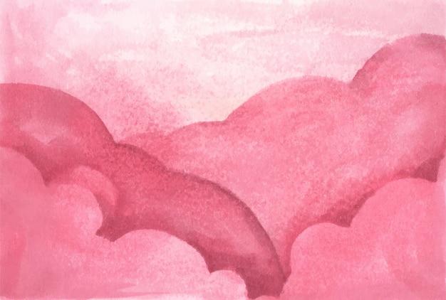 Nuvens rosa para segundo plano. abstrato base aquarela pastel.