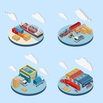Nuvens sobre ilustrações de instalações industriais