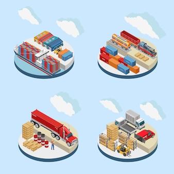 Nuvens sobre instalações de armazenamento com transporte