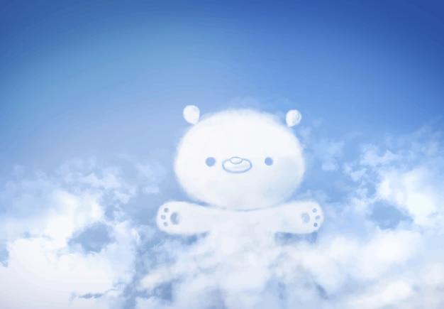 Nuvens urso-dadas forma peluche no fundo do céu azul.