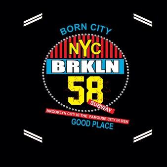 Nyc brooklyn tipografia t projeto camisa vector
