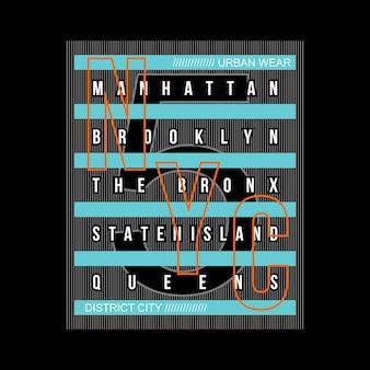 Nyc cinco borough tipografia t-shirt, gráfico de vetor