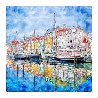Nyhavn kobenhavn dinamarca desenho em aquarela ilustrações desenhadas à mão