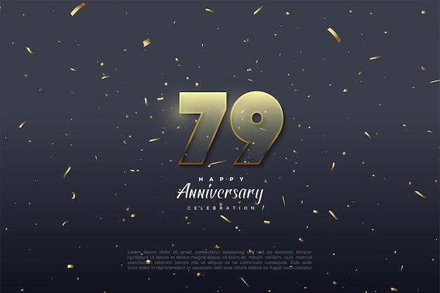 O 79º aniversário com números brilhando no escuro