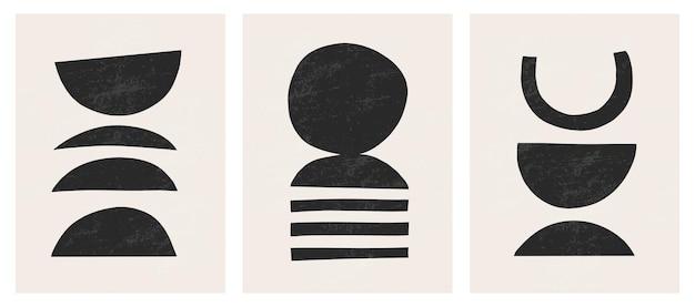 O abstrato contemporâneo moderno modela impressões de arte, formas pretas mínimas em bege
