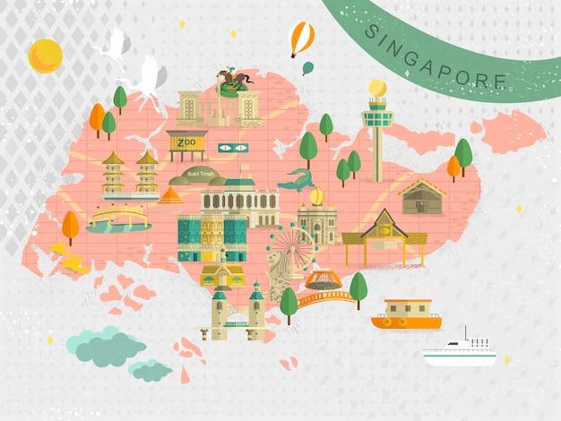 O adorável mapa das atrações imperdíveis de cingapura em estilo simples
