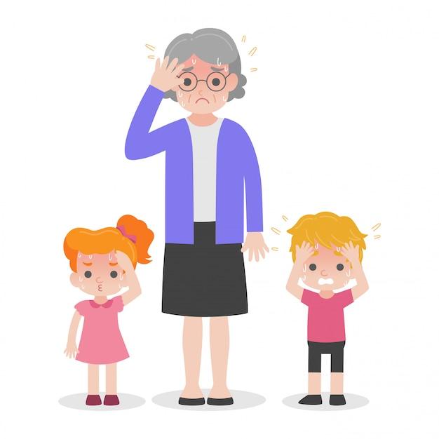 O adulto mais velho e as crianças têm o conceito médico da assistência médica da insolação.