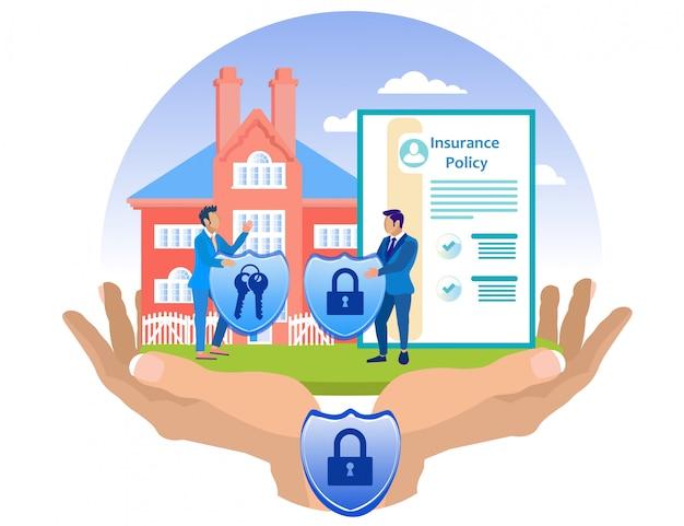 O agente de seguros e o cliente seguram com segurança a casa.