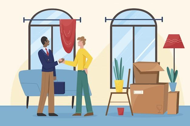 O agente imobiliário de sorriso agita as mãos com cliente satisfeito.