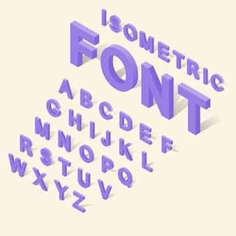 O alfabeto com ícones dos números ajustou-se no estilo 3d isométrico. fonte de inglês definir ilustração vetorial de coleção