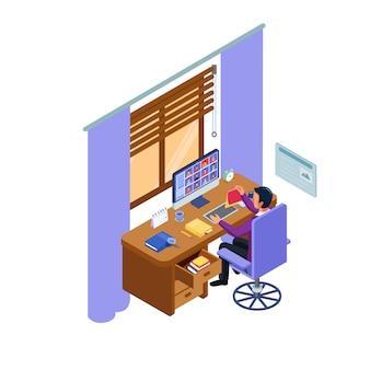 O aluno faz reuniões interativas on-line. conceito de processo de aprendizagem com computador e internet.