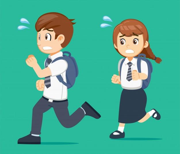 O aluno vai para a escola atrasado por algum motivo.