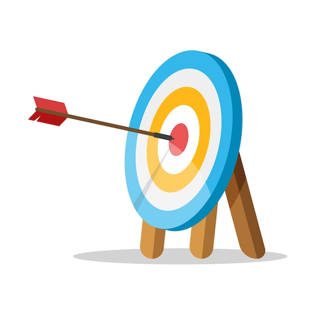 O alvo com uma flecha atingiu o centro.