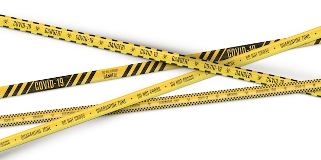 O amarelo de cruzamento em uma tira preta que adverte cercando a fita no fundo branco. perigo biológico.