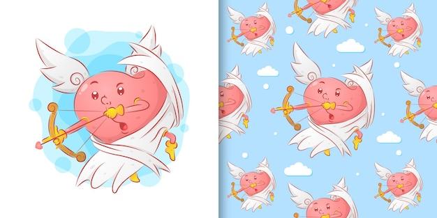 O amor do anjo segurando a flecha do amor para o dia dos namorados em um padrão definido de ilustração