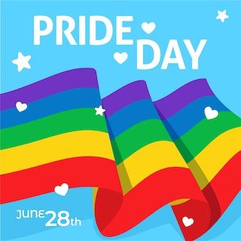 O amor é amor bandeira do dia do orgulho e coração com estrelas