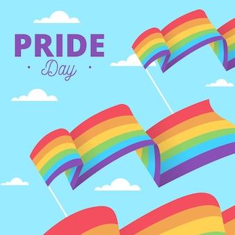 O amor é bandeiras do dia do orgulho do amor no céu