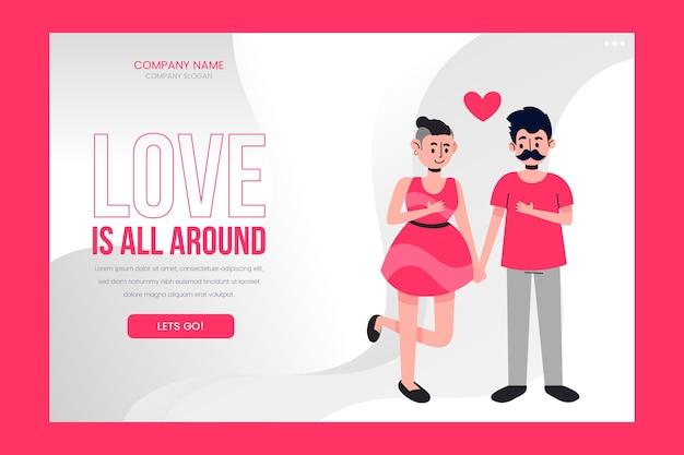 O amor está em toda a página de destino