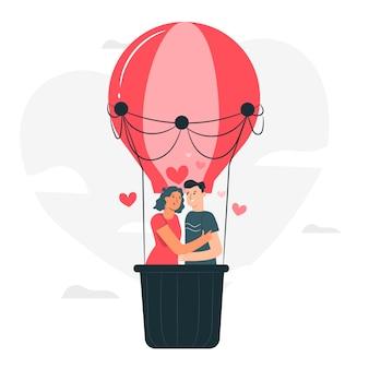 O amor está na ilustração do conceito de ar