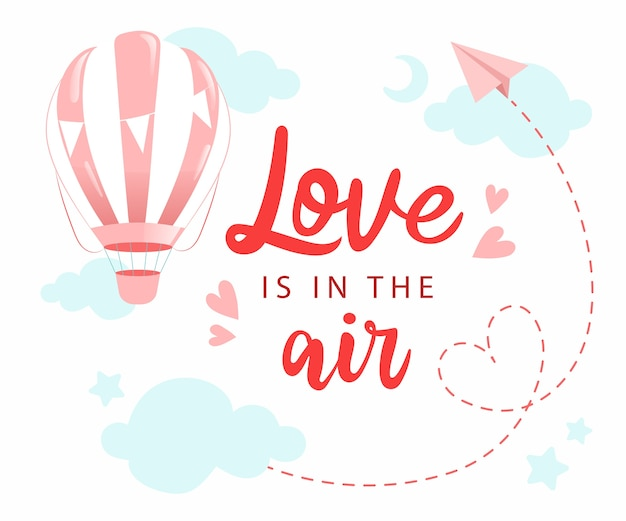 O amor está nas letras de mão do ar. desenho de cartão desenhado à mão isolado
