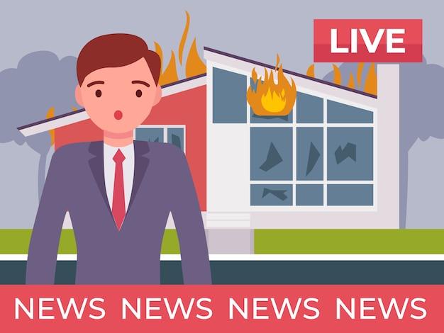O âncora de notícias está relatando a notícia do incêndio em casa