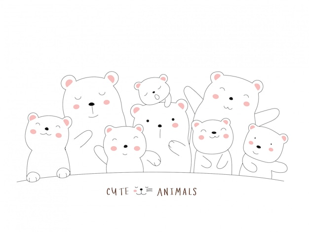 O animal bonito urso dos desenhos animados. estilo desenhado mão