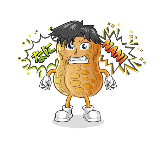 O anime de amendoim com raiva. personagem de desenho animado
