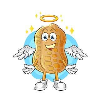 O anjo do amendoim com asas. personagem de desenho animado
