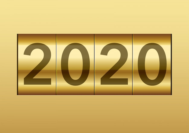 O ano de 2020 exibido em um contador mecânico, ilustração vetorial.