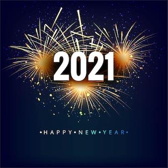 O ano de 2021 exibido com fundo de fogos de artifício