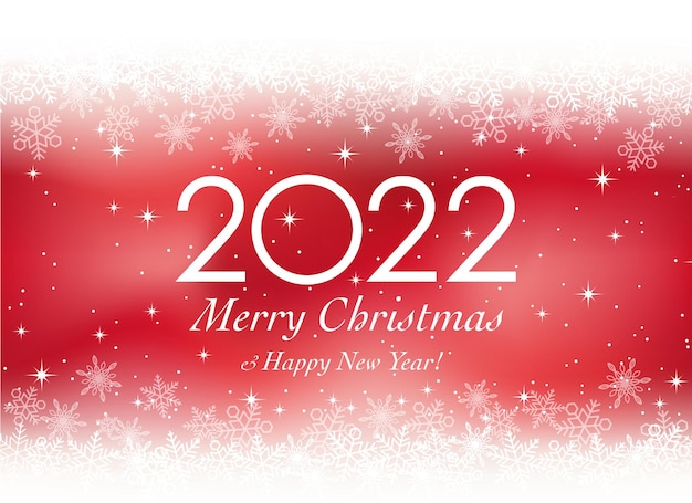 O ano de 2022 cartão de felicitações de vetor de natal e ano novo com flocos de neve em um fundo vermelho
