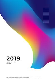 O ano novo feliz 2019 e o feliz natal projetam com estilo fluido e líquido.